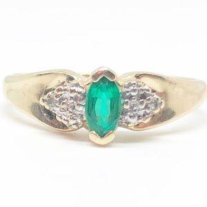 10k Yellow Gold Authentic Emerald & Diamond Ring
